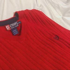 chaps/polo ralph lauren red oversized sweater vest